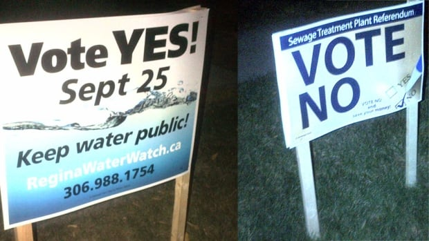 Yes and No signs compete on Regina lawns