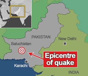 Map showing location of Pakistani earthquake