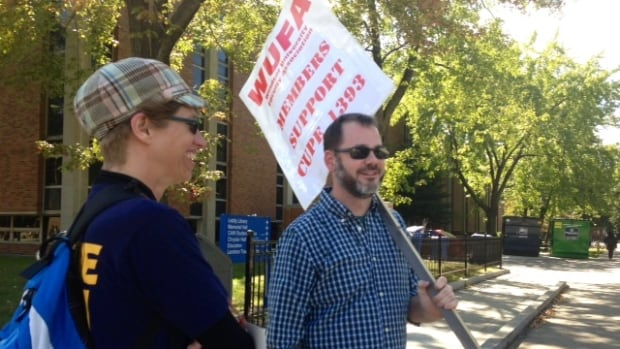 The Windsor University Faculty Association showed support for striking CUPE 1393 Tuesday.