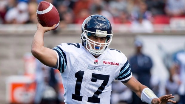 Toronto Argonauts quarterback Zach Collaros completed 25 of 36 passes for 330 yards and had a career-high four touchdown passes against the Calgary Stampeders last week.