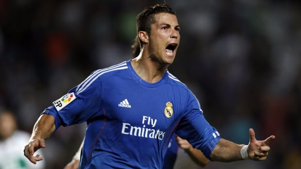 Real Madrid's Cristiano Ronaldo celebrates after scoring against Elche on Wednesday.