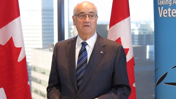 Federal Veterans Affairs Minister Julian Fantino speaks in Calgary on Wednesday, Sept. 11, 2013 at an announcement that Cenovus Energy will give military veterans priority when hiring employees.