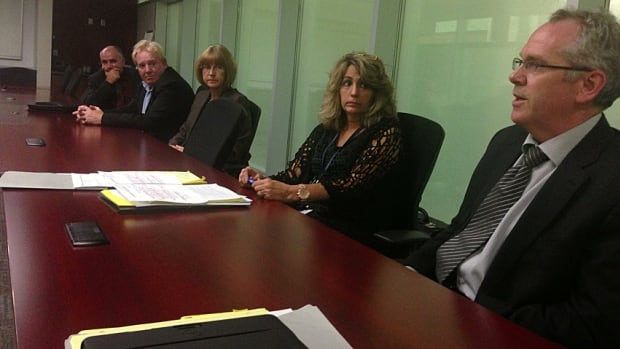 City management held a media conference late Wednesday to address an arbitrator's report saying a transit employee was sexually harassed. From left: HSR director Don Hull; Gerry Davis, general manager of public works; city solicitor Janice Atwood-Petkovski; Lora Fontana, director of employee and labour relations, and city manager Chris Murray.