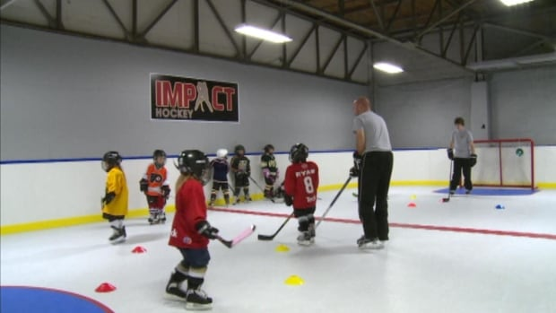 A group of young hockey players hone their skills on the new indoor artificial ice rink in Grand Falls-Windsor.