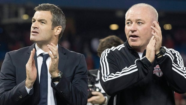 Toronto FC assistant coach Jim Brennan will guide the club in Saturday's match against D.C. United while manager Ryan Nelsen, left, and ssistant coach Fran O'Leary, right, serve their suspensions following ejections in last weekend's loss to Sporting Kansas City.