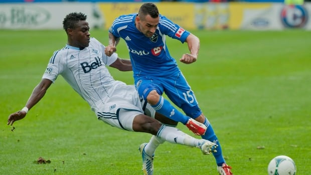 Montreal Impact's Andres Romero, right, and his club will be looking to keep their playoff chances on track against the Chicago Fire on Saturday.