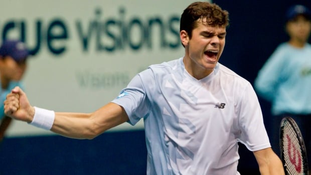 Canada's Milos Raonic celebrates his semifinal win over Richard Gasquet of France at the Thailand Open in Bangkok on Saturday.