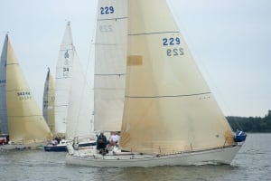 Competitors started the race in sailing boats.