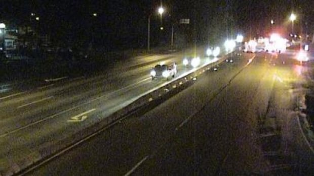 A webcam at Lougheed Highway and 240th Street in Maple Ridge captured images of emergency responders at 8:57 p.m. PT at the scene of two accidents Friday night. A pedestrian was killed, and a number of occupants in two cars were taken to hospital with injuries.