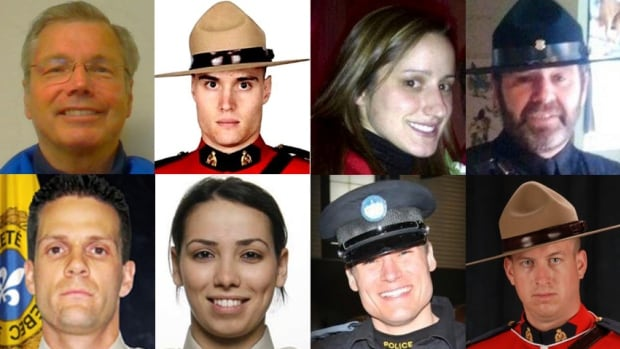 Eight police and peace officers killed across Canada within the past 14 months are being honoured on Parliament Hill on Sunday, as well as three officers killed in past years.