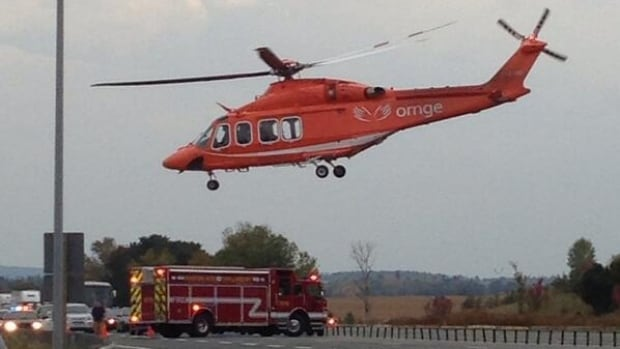 An air ambulance was called in to transport a person whose motorcycle crashed on the off-ramp from the northbound lanes of Highway 400 to Highway 88 on Sunday, Sept. 29, 2013.