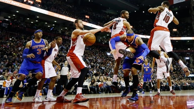 A game between the Toronto Raptors and New York Knicks in Toronto March 22, 2013.