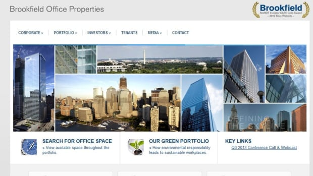 The website of Brookfield Office Properties, which has a portfolio of office buildings around the world.