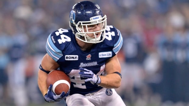 Toronto Argonauts running back Chad Kackert ran for a season-high 155 yards in Saturday's win over Edmonton to earn CFL offensive player of the week honours.