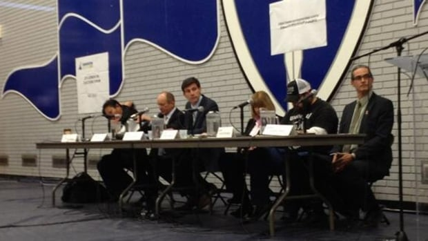 The six candidates for mayor took part in the first city-run forum on Tuesday night.