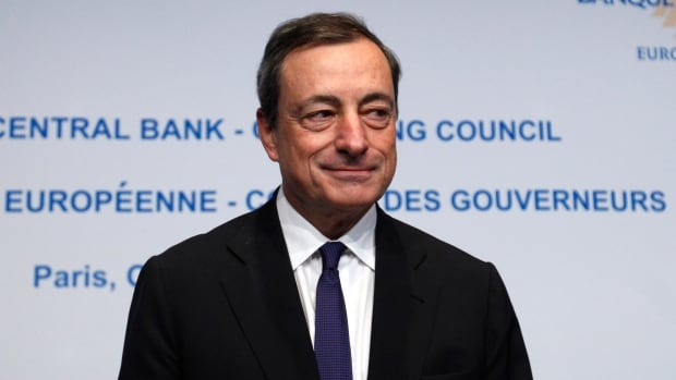 President of the European Central Bank Mario Draghi, above, said in Paris Wednesday that he'll keep the benchmark interest rate for the eurozone low over the long term so as to not undermine the region's fragile economic recovery.