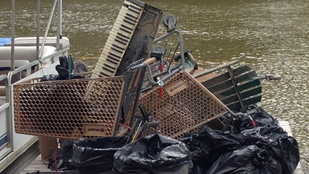 Some of the abandoned things pulled out of the river on Tuesday, include a keyboard, deck chair, and shopping carts.