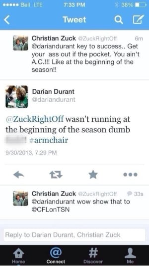 Durant drops f-bomb on fan