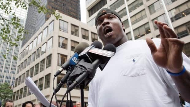 Green Bay Packers defensive end Anthony Hargrove speaks to the media outside NFL headquarters on June 19 in New York. The former New Orleans Saints player had been suspended for half of next season for his alleged involvement in a bounty program among Saints players.