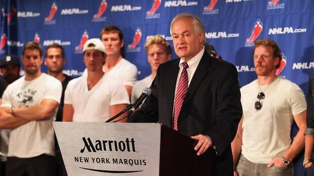 Don Fehr, executive director of the NHLPA, speaks to reporters at a press conference in September.