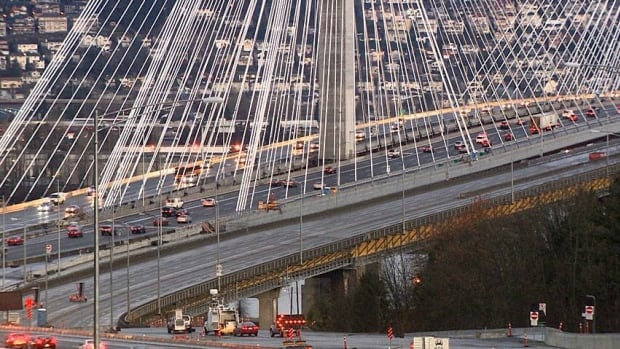 The 10-lane Port Mann Bridge, which links Coquitlam and Surrey along the Trans-Canada Highway east of Vancouver was first opened in 2012. (CBC)