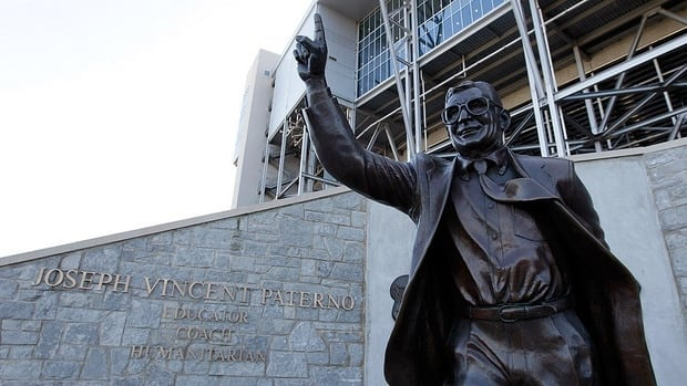 A statue of Penn State University head football coach Joe Paterno is seen outside of Beaver Stadium.