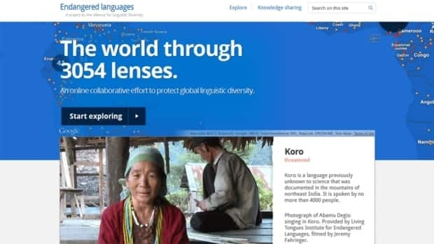 A screen grab of the home page of Google's new Endangered Languages Project website. The site will be a clearinghouse of information about the more than 3,000 languages that are at risk of dying out.