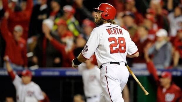 Jayson Werth watches his game-winning solo home run leave the park in the ninth inning of Game 4 in Washington.