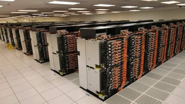 Part of the Sequoia supercomputer at the U.S. Department of Energy's Lawrence Livermore National Laboratory in Livermore, Calif. The computer consists of 96 racks like those pictured above, mounted with 98,304 'compute nodes' containing almost 1.6 million processors.