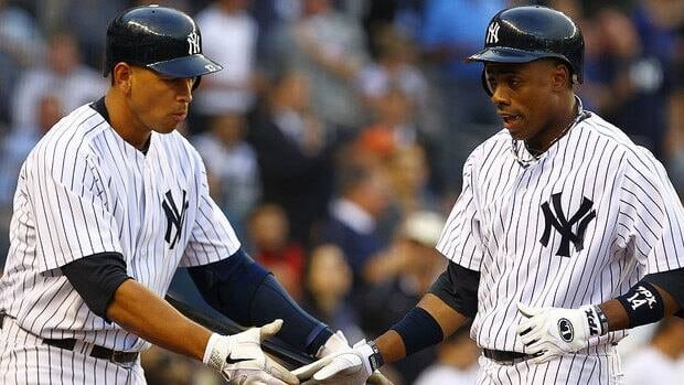 Alex Rodriguez, left, will be on the Yankees bench for the third time in nine post-season games Thursday. Joining him will be Curtis Granderson, right, following another hitless night in Game 3.