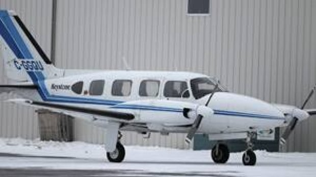 A Keystone Air Service eight-seat Piper PA-31 Navajo sits at St.Andrews Airport, just north of Winnipeg, on Tuesday.