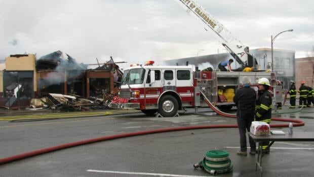 Four buildings in downtown Cranbrook were destroyed or damaged by an early morning fire on Tuesday.