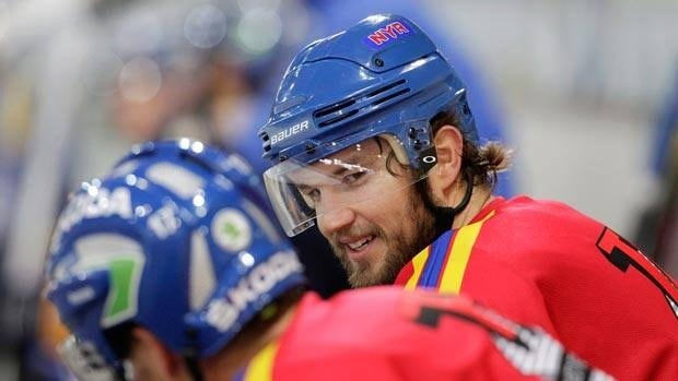 Rick Nash, shown with Davos on Sept. 20, awaits his NHL debut with the New York Rangers.