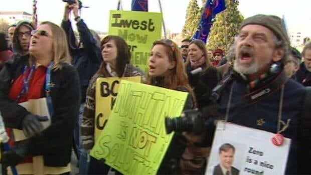 Teachers rally in front of the B.C. legislature in Victoria Monday in their contract dispute with the provincial government.
