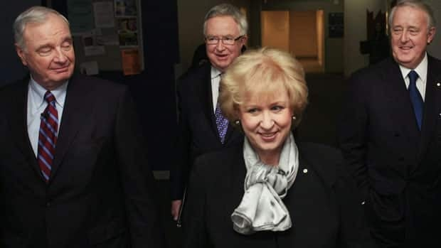Former Canadian Prime Minister Kim Campbell was scrutinized in the media for her appearance and personal life, a U of A political scientist says. Pictured behind her are former Prime Ministers Paul Martin, Joe Clark and Brian Mulroney.