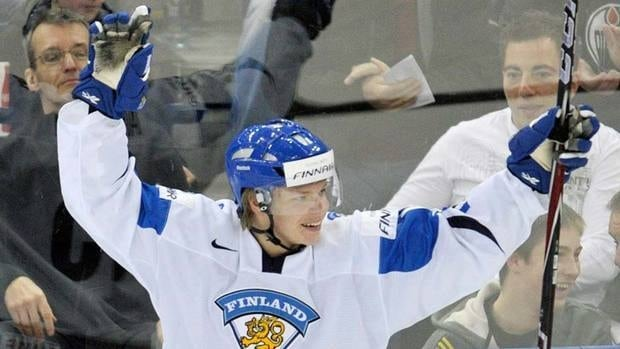 Finland forward Miro Aaltonen had two goals and an assist in his country's first game Wednesday before a bad ankle injury put him on the sidelines for at least the rest of the world junior tournament.