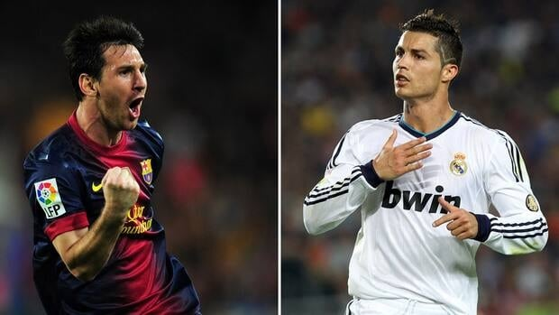 Barcelona forward Lionel Messi, left, and Real Madrid forward Cristiano Ronaldo react after scoring during their match on Sunday.
