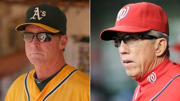 Nationals' Davey Johnson, right, and Athletics' Bob Melvin were honoured for the second time in their careers.