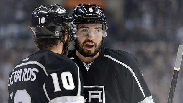 Drew Doughty, right, seen with teammate Mike Richards, has more points than all other Los Angeles defencemen combined.