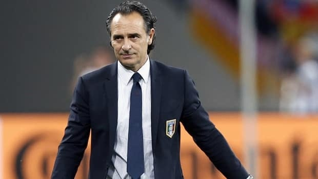 Italy coach Cesare Prandelli leaves the pitch after the Euro 2012 soccer championship final between Spain and Italy on Sunday.