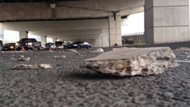 A chunk of concrete fell off the Gardiner Expressway and on to Lower Jarvis Street last week.(City of Toronto)