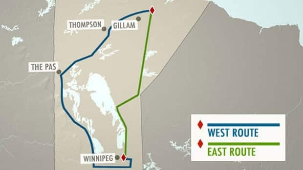 The two potential routes for the Bipole III transmission line are mapped out. The western route, chosen by the NDP, will run 1,400 kilometres and cost more than $3 billion to build.