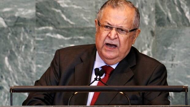 Iraqi President Jalal Talabani, who had been showing signs of fatigue, was hospitalized on Monday after suffering a stroke.