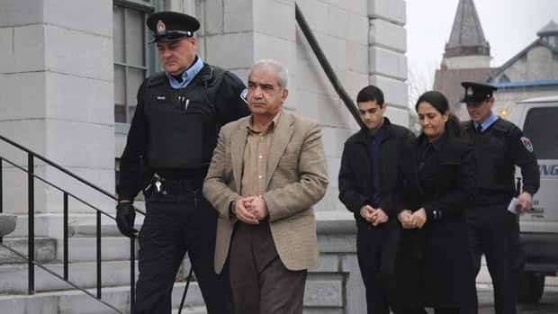 Mohammad Shafia, Tooba Yahya and Hamed Shafia arrive at the Frontenac County Courthouse in Kingston Wednesday morning. Prosecutors have started making closing arguments.