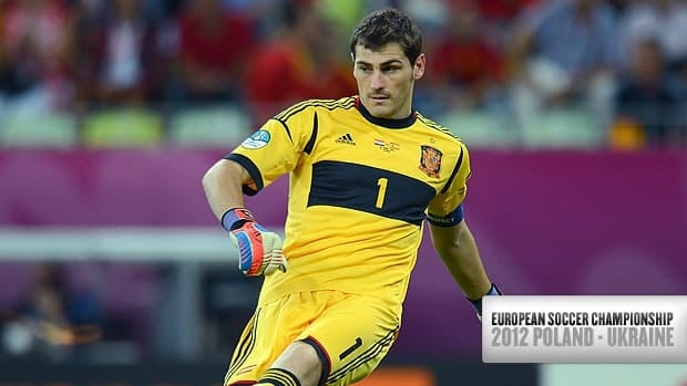 Iker Casillas of Spain in action during the match against Croatia at The Municipal Stadium on June 18 in Gdansk, Poland.