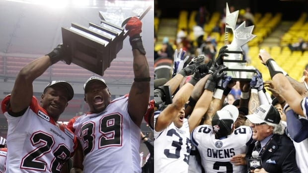 Who will take home the Grey Cup? The West Division champion Calgary Stampeders, left, or the East champion Toronto Argonauts?
