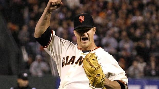 Matt Cain of the San Francisco Giants celebrates the final out of his perfect game on Wednesday night.