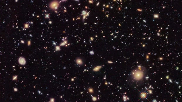 An image of the Hubble Ultra Deep Field taken in August and September 2012. Observations taken with the Hubble Telescope have provided scientists with a clearer view of the earliest galaxies.
