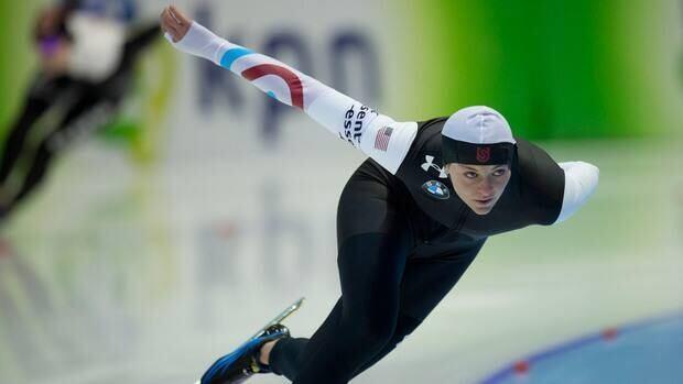Heather Richardson of the U.S. skates to win the women's 1,000-metre race at Thialf stadium in Heerenveen, Netherlands on Sunday.