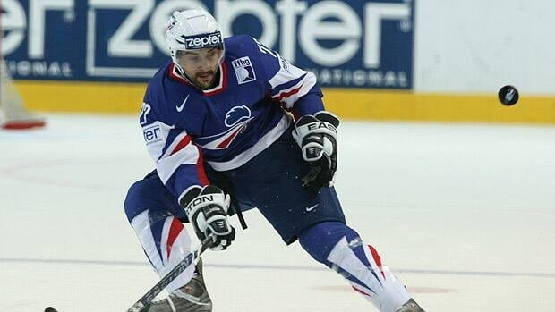 Sacha Treille of France in action during the IIHF World Ice Hockey Championship qualification round match between USA and France.